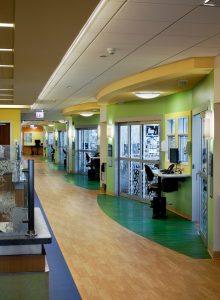 Sliding Door in Hospital Corridor