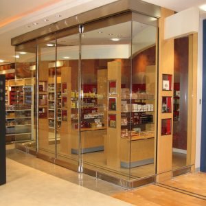 Sliding door in shop Burlington, London, Ottawa - Shop Front and Commercial Door Specialists Ontario